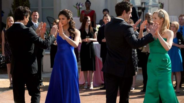 Fashion Trends 2021: The strapless dress blue as outfit worn by Elena Gilbert (Nina Dobrev) seen in The Vampire Diaries Season 1E19