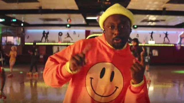 The sweater is orange with smiley yellow outfit worn by will.i.am in Black Eyed Peas - Be Nice Feat. Snoop Dogg - Youtube Outfits and Products