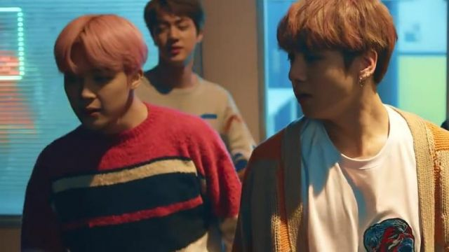 The sweater striped Cardigan in the clip Spring Day BTS - Youtube Outfits and Products