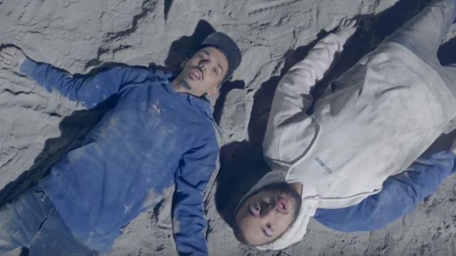 The sweatshirt blue hoody outfit worn by Bigflo in the clip On the moon from Bigflo & Oli - Youtube Outfits and Products