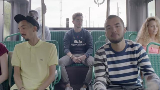 """The sweatshirt covered in stripes of Lacoste Oli in the clip """"Damage"""" Bigflo & Oli - Youtube Outfits and Products"""