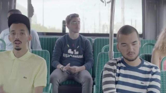 The sweatshirt striped Lacoste in the clip Damage of Bigflo and Oli - Youtube Outfits and Products