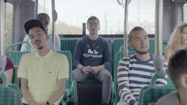 The sweatshirt striped Lacoste outfit worn by Oli in the clip damage of BigFlo & Oli - Youtube Outfits and Products