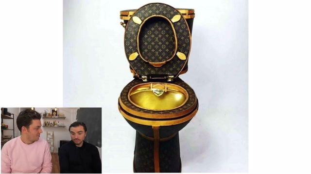 """The toilet in brown and gold Louis Vuitton LV views in the video """"these people who have too much money"""" of Peter Croce - Youtube Outfits and Products"""