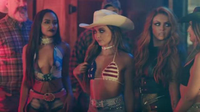 The top triangle american flag Jade Thirlwall in the clip No more, sad song of Little mix - Youtube Outfits and Products