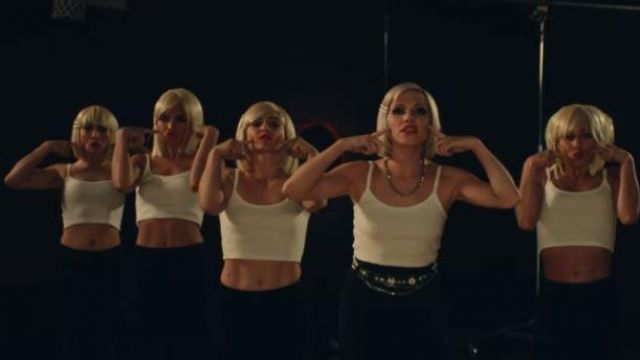 The white tank top outfit worn by Carly Rae Jepsen in her music video Too Much - Youtube Outfits and Products