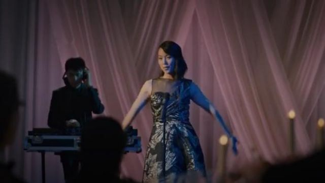 Theia Brocade Tea Length Brocade Gown outfit worn by Min-Hee Kwon (Susane Lee) in Madam Secretary Season 6 Episode 6 - TV Show Outfits and Products