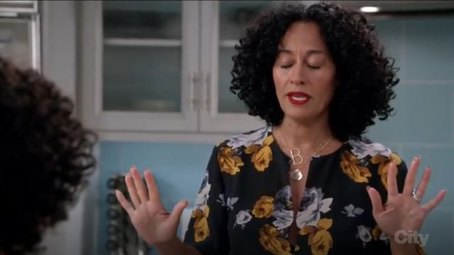 Theory Antazie Distressed Floral Print Silk Top outfit worn by Rainbow Johnson (Tracee Ellis Ross) in black-ish (Season03 Episode08) - TV Show Outfits and Products