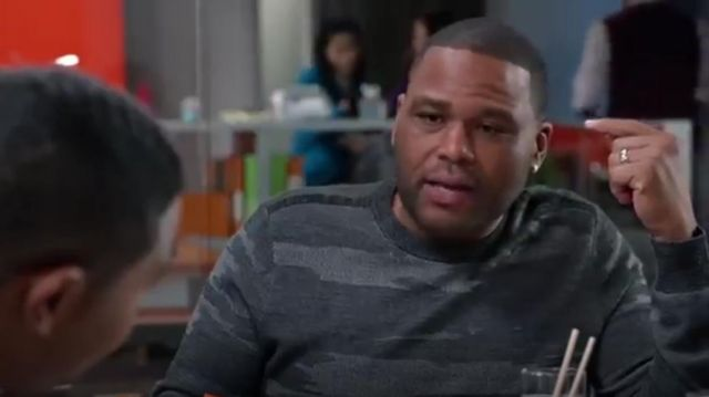 Theory Asli Geysor Camouflage Sweater outfit worn by Andre 'Dre' Johnson (Anthony Anderson) in black-ish (Season01 Episode19) - TV Show Outfits and Products