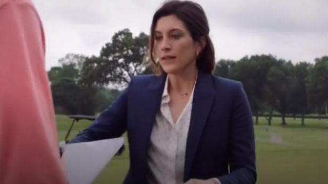 Theory Blue Good Wool Long Blazer outfit worn by Sydney Strait (Caitlin McGee) in Bluff City Law Season 1 Episode 2 - TV Show Outfits and Products