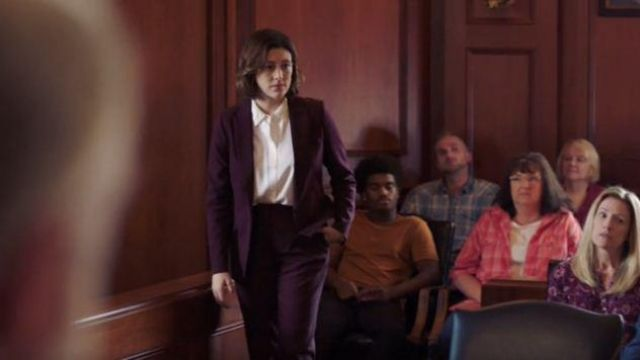 Theory Dark Red Suit Pants outfit worn by Sydney Strait in Bluff City Law Season 01 Episode 02 - TV Show Outfits and Products