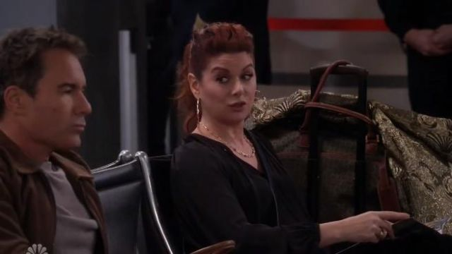 Theory Gathered silk-chiffon blouse outfit worn by Grace Adler (Debra Messing) in Will & Grace (S02E18) - TV Show Outfits and Products