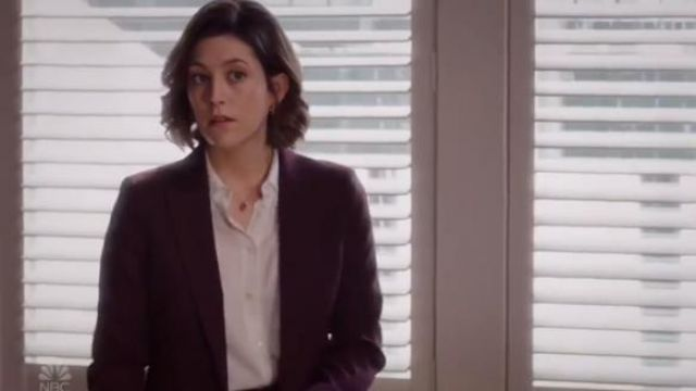 Theory Good Wool Etiennette Blazer in Mulberry outfit worn by Sydney Strait (Caitlin McGe) in Bluff City Law Season 1 Episode 2 - TV Show Outfits and Products