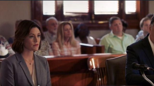 Theory Grey Blazer outfit worn by Sydney Strait in Bluff City Law Season 01 Episode 02 - TV Show Outfits and Products