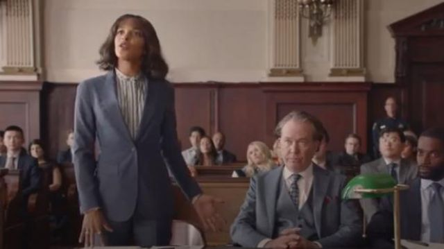 Theory Grey Gabe Blazer outfit worn by Edie Palmer (Megalyn Echikunwoke) in Almost Family Season 1 Episode 2 - TV Show Outfits and Products