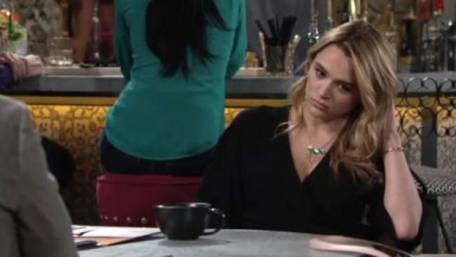 Theory Kimono Wrap Dress outfit worn by Hunter King as seen in The Young and the Restless June 12,2019 - TV Show Outfits and Products