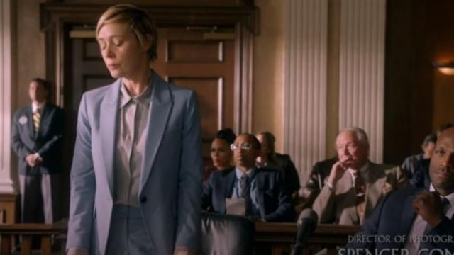 Theory Light Blue Etienette B Good Wool Suit Jacket outfit worn by Bonnie Winterbottom (Liza Weil) in How to Get Away with Murder Season 6 Episode 8 - TV Show Outfits and Products