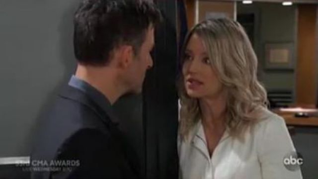 Theory Movement Fitted Raw-Edge Peplum Jacket outfit worn by Nina Reeves (Cynthia Watros) as seen on General Hospital November 11, 2019 - TV Show Outfits and Products