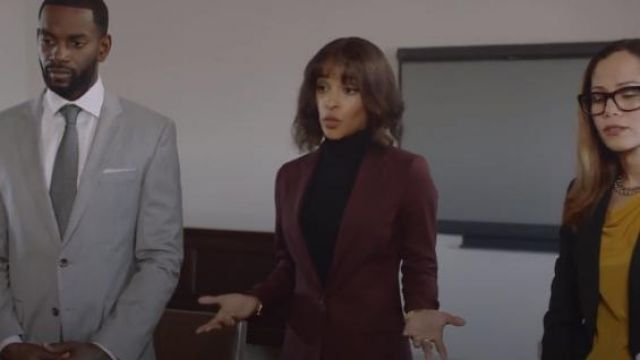 Theory Red Etiennette One-Button Good Wool Suiting Jacket outfit worn by Edie Palmer (Megalyn Echikunwoke) in Almost Family Season 1 Episode 2 - TV Show Outfits and Products