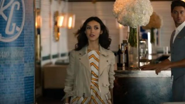 Theory Shrunken Moto Jacket outfit worn by Alicia Mendoza (Denyse Tontz) in Grand Hotel (Season 01 Episode 01) - TV Show Outfits and Products