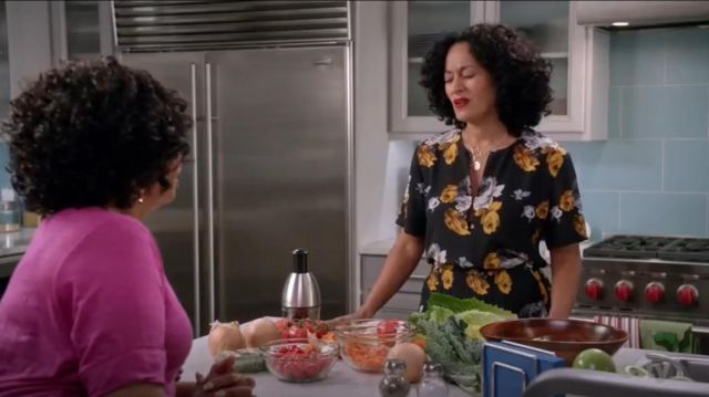 Theory Viewpine Distressed Floral Pant outfit worn by Rainbow Johnson (Tracee Ellis Ross) in black-ish (S03E08) - TV Show Outfits and Products