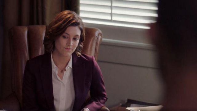 Theory White Button Front Blouse outfit worn by Sydney Strait in Bluff City Law Season 01 Episode 02 - TV Show Outfits and Products