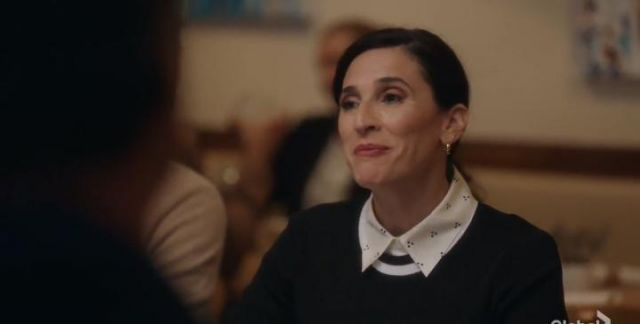 Theory White Silk Dot Straight Shirt outfit worn by Delia (Michaela Watkins) in The Unicorn Season 1 Episode 3 - TV Show Outfits and Products