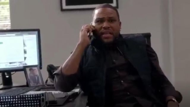 Theory Zack PS Rhone Plaid Shirt outfit worn by Andre 'Dre' Johnson (Anthony Anderson) in black-ish (Season01 Episode05) - TV Show Outfits and Products
