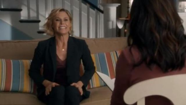Theory black carissa pinstriped blazer outfit worn by Claire Dunphy (Julie Bowen) in Modern Family Season 11 Episode 2 - TV Show Outfits and Products