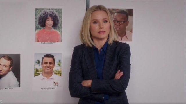 Theory blue classic slim shirt outfit worn by Eleanor Shellstrop (Kristen Bell) in The Good Place Season 4 Episode 2 - TV Show Outfits and Products