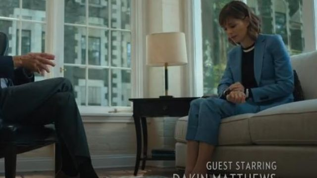 Theory light blue essential blazer outfit worn by Dr. Kristen Bouchard (Katja Herbers) in Evil Season 1 Episode 2 - TV Show Outfits and Products