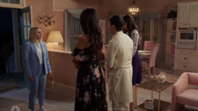 Theory light blue tailored knit trousers outfit worn by Eleanor Shellstrop (Kristen Bell) in The Good Place Season 4 Episode 2 - TV Show Outfits and Products