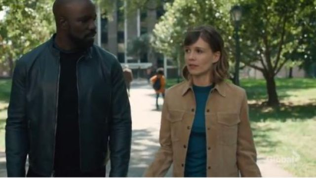 Theory tan women's suede trucker jacket outfit worn by Dr. Kristen Bouchard (Katja Herbers) in Evil Season 1 Episode 2 - TV Show Outfits and Products