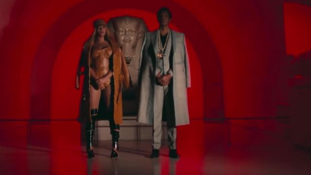 Thigh-high boots black Beyoncé in APES**T - THE CARTERS - Youtube Outfits and Products