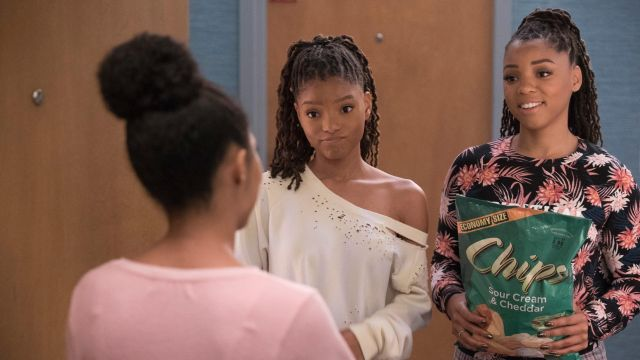 Tie-Dye Cut Out Sweatshirt outfit seen on Sky Forster (Halle Bailey) in grown-ish (S02E01)