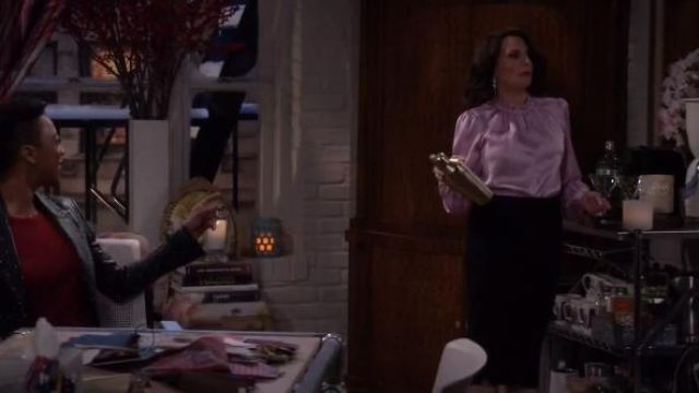 Tom Ford zipped pencil skirt outfit worn by Karen Walker (Megan Mullally) in Will & Grace (S02E16) - TV Show Outfits and Products