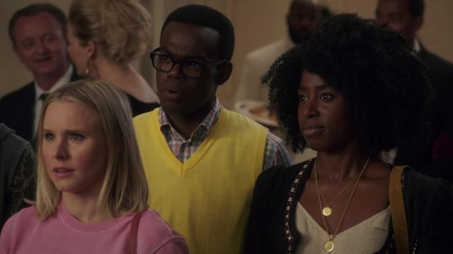 Top BP. beige outfit worn by Simone Garnett (Kirby Howell-Baptiste) seen in The Good Place Season 3 Episode 3 - TV Show Outfits and Products