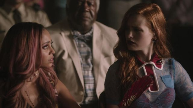 Top blue transparent red collar of Cheryl Blossom (Madelaine Petsch) seen in Riverdale (Season 3 Episode 1) - TV Show Outfits and Products