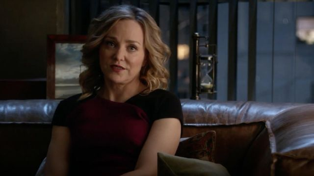 Top bordeaux Roland Mouret outfit worn by Marissa Morgan (Geneva Carr) seen in Bull Season 2E18