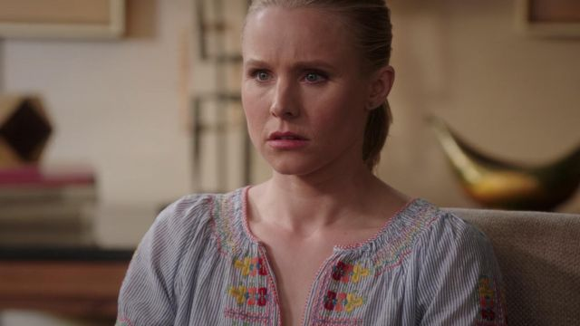 Top embroidered Eleanor Shellstrop (Kristen Bell) seen in The Good Place (Season 3 Episode 7) - TV Show Outfits and Products