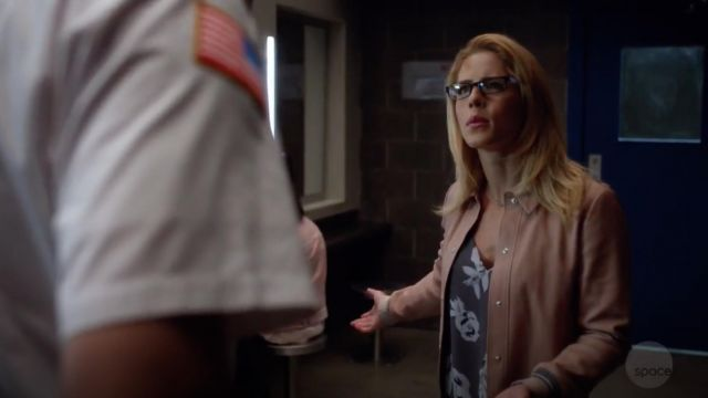 Top gray with spaghetti straps and flowers Babaton outfit worn by Felicity Smoak (Emily Bett Rickards) seen in Arrow Season 7 Episode 5 - TV Show Outfits and Products
