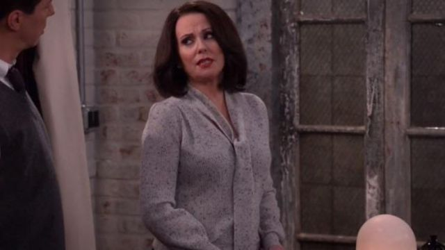 Top heather grey Karen Walker (Megan Mullally) seen in Will & Grace (Season 2 Episode 4) - TV Show Outfits and Products