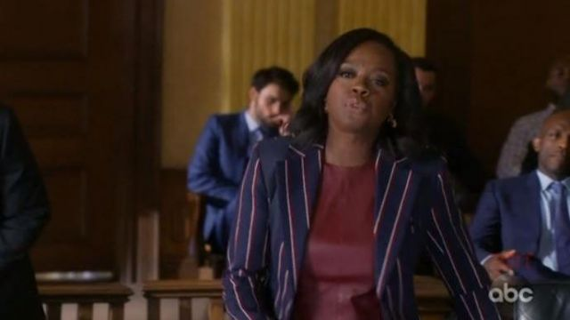 Top leather red Annalise Keating (Viola Davis) seen in How to get away with Murder (Season 5 Episode 5) - TV Show Outfits and Products
