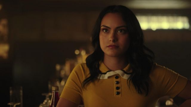 Top mustard ModCloth outfit worn by Veronica Lodge (Camila Mendes) seen in Riverdale Season 3 Episode 3 - TV Show Outfits and Products