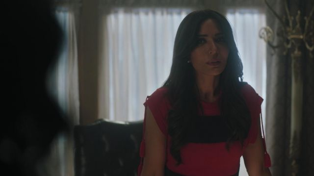 Top red Carven outfit worn by Hermione Lodge (Marisol Nichols) seen in Riverdale Season 3 Episode 2 - TV Show Outfits and Products