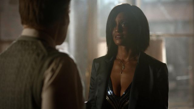 Top sequined Express Kara Fowdy (Skye P. Marshall) seen in Black Lightning Season 2 Episode 1