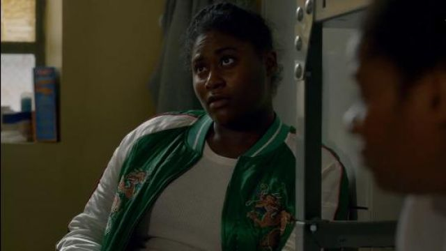 Topshop 'Leo' Dragon Embroidered Bomber Jacket outfit worn by Tasha 'Taystee' Jefferson (Danielle Brooks) in Orange Is the New Black (S05E03) - TV Show Outfits and Products