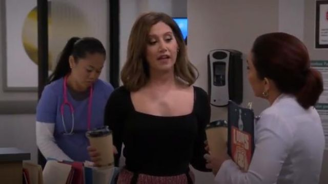 Topshop Black Square Neck Long Sleeve Bodysuit outfit worn by Jenny Kenney (Ashley Tisdale) in Carol's Second Act Season 1 Episode 2 - TV Show Outfits and Products