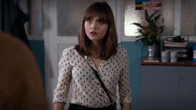 Topshop Diamond Print Shirt outfit seen on Clara (Jenna Coleman) in Doctor Who (S08E06) - TV Show Outfits and Products