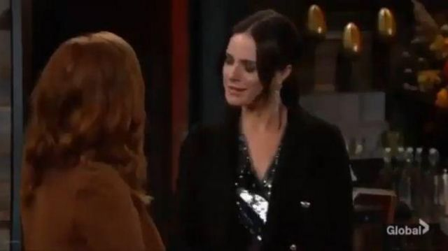 Topshop Double Breasted Black Coat outfit worn by Tessa Porter (Cait Fairbanks) as seen on The Young and the Restless November 5, 2019 - TV Show Outfits and Products